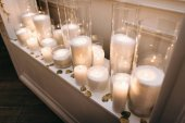 beautiful wedding decorations with burning candles