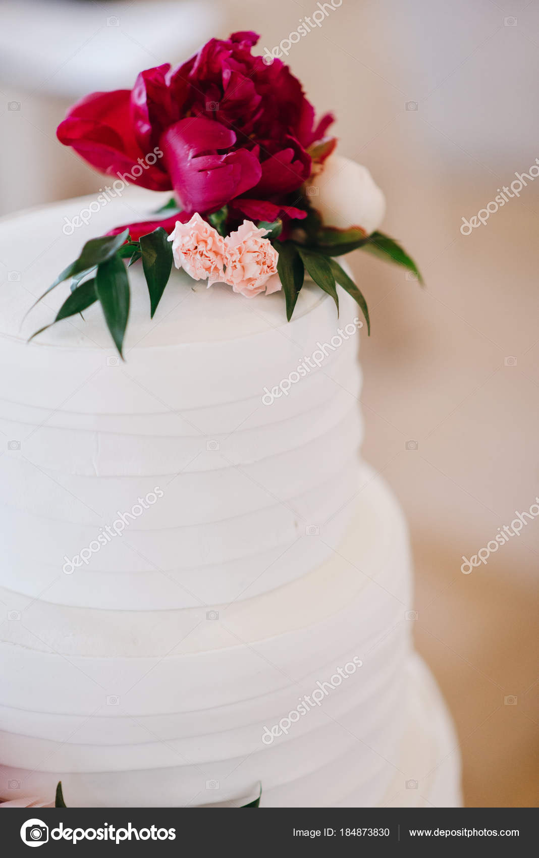 White Wedding Layered Cake Decorated Peonies Roses Green Leaves ...