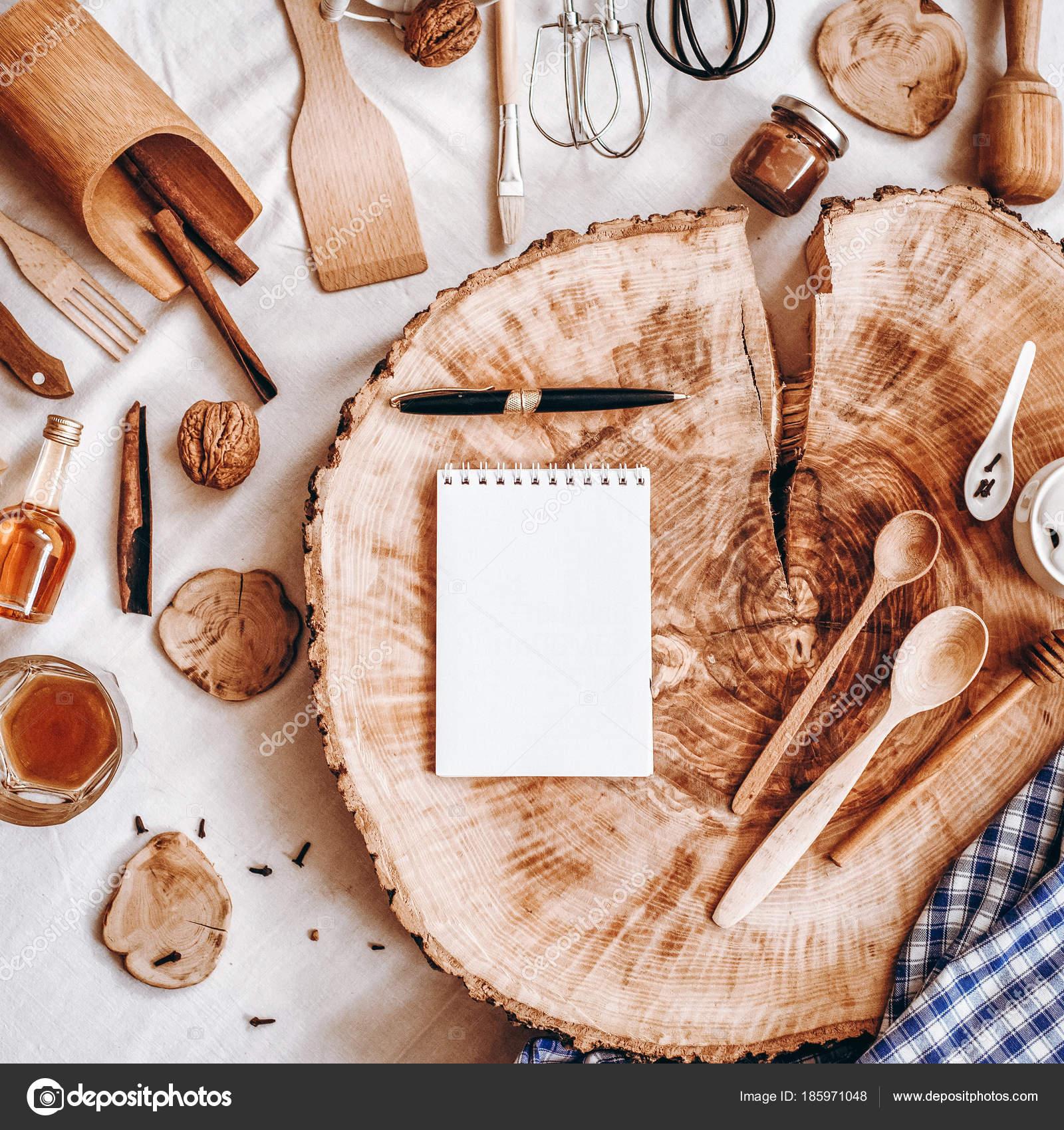 Decorative Composition Sawed Wood Notebook Pen Kitchen ...