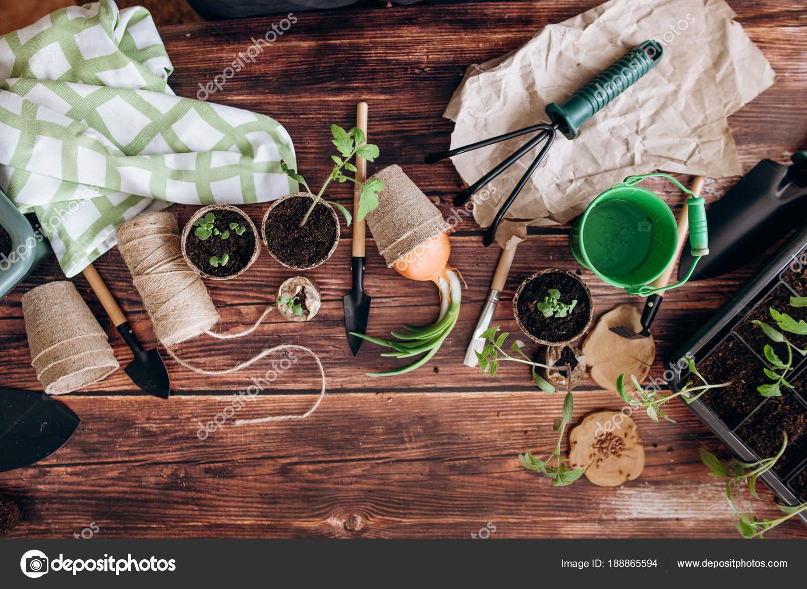 Gardening Composition Shovels Rakes Sprouts Pots Green Bucket Thread ...