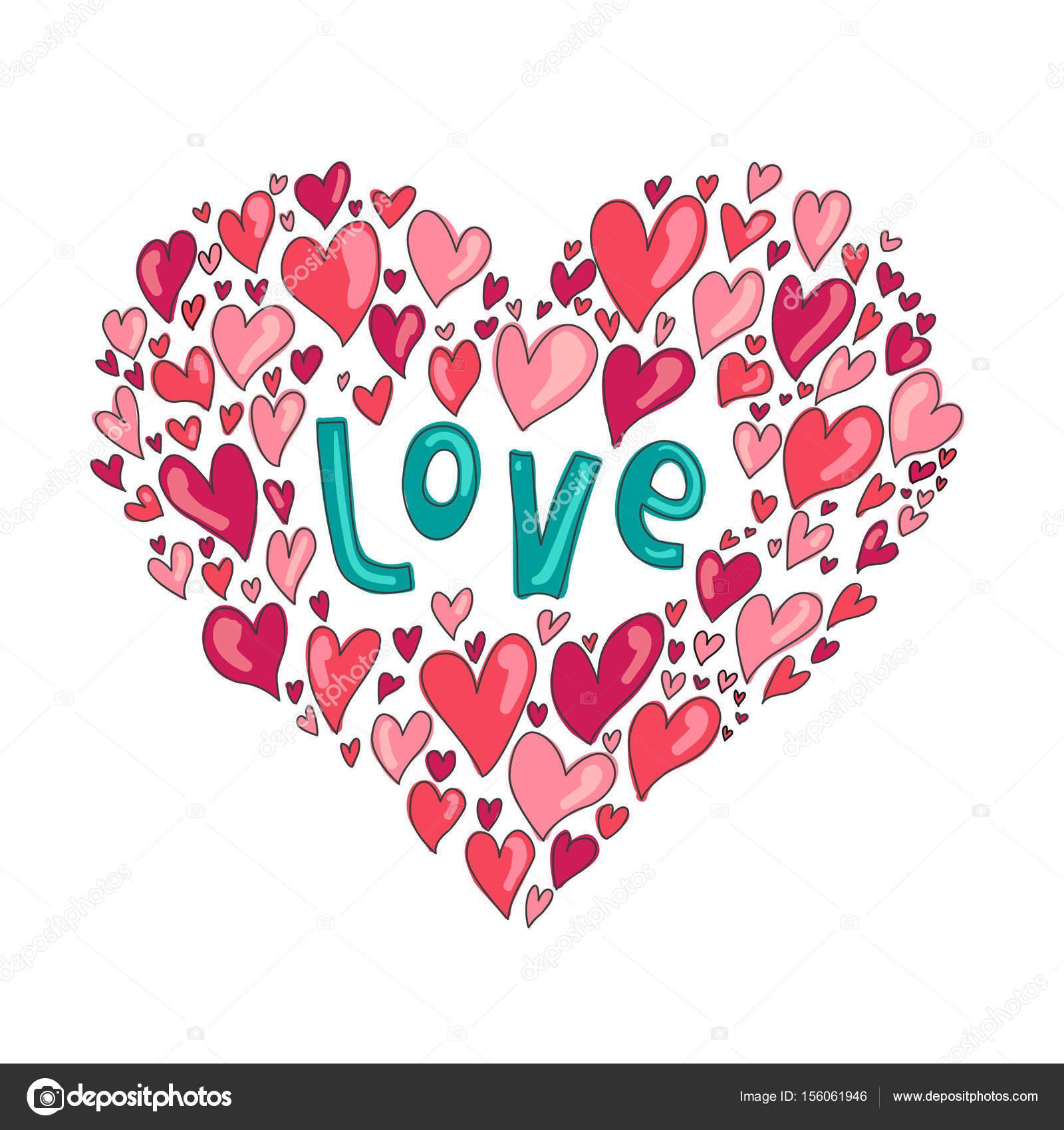 Coeur d amour faite de petits coeurs image vectorielle larafields 156061946 - Ceour d amour ...