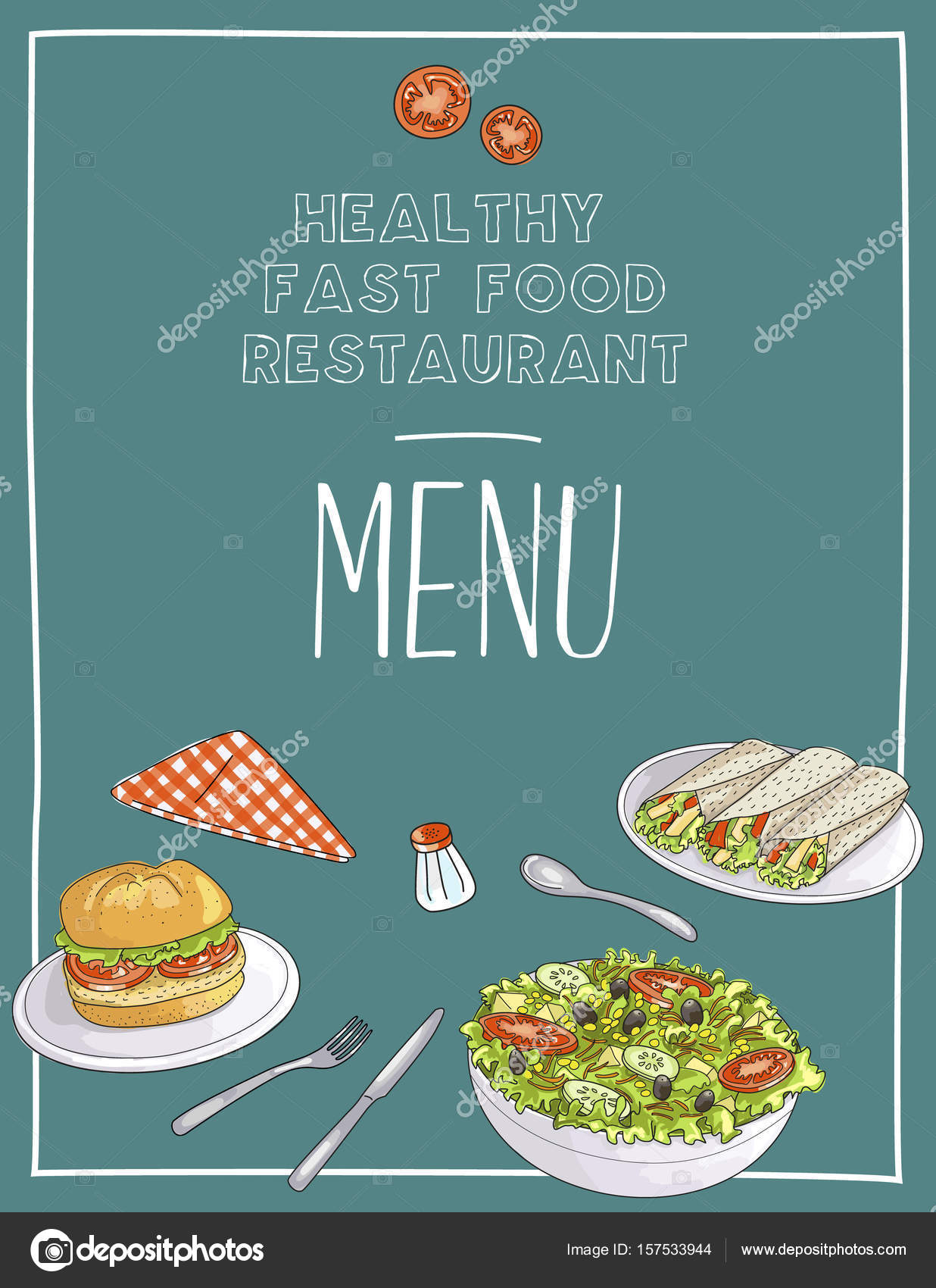 Gesundes Fast Food Restaurant Menüvorlage Vektor — Stockvektor ...