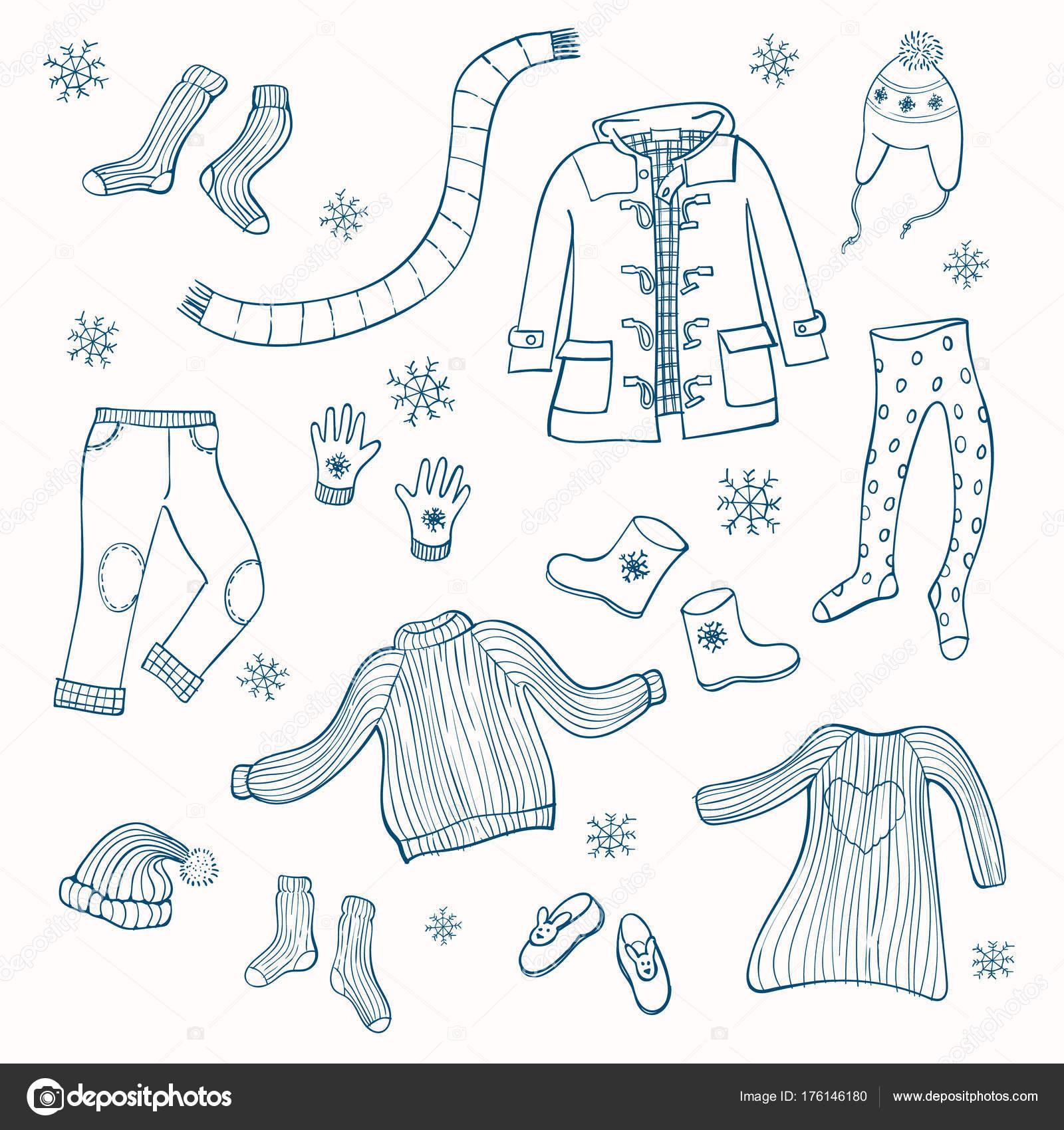 Set di abbigliamento invernale di immagini vettoriali. Collezione di  vestiti caldi  maglione 70b7d180cac
