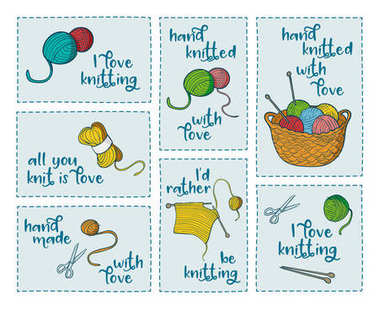 Collection of 7 stickers with knitting related quotes