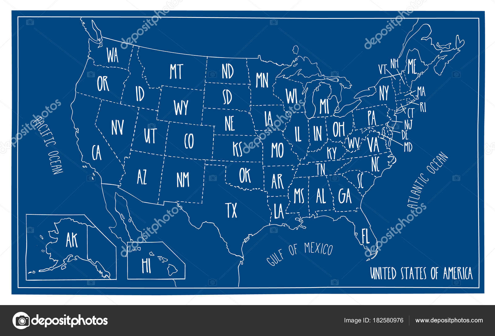 Us map blueprint fidor hand drawn vector map of the usa blueprint style cartography of united states of america including malvernweather Images
