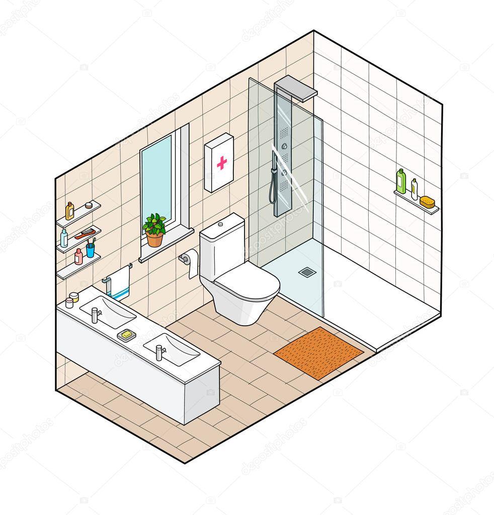 Isometrico dibujo | Dibujo isométrico de cuarto de baño ...