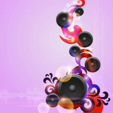 Abstract purple music background with speakers