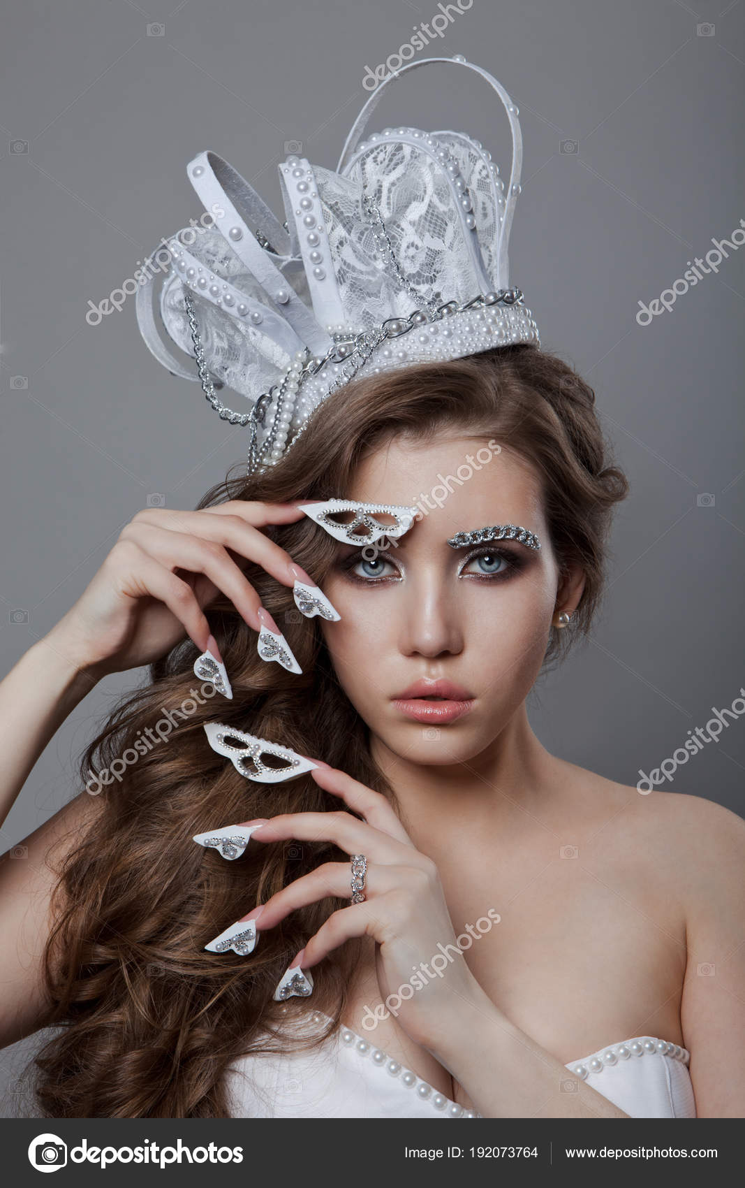 Beautiful Fashion Queen Bride Woman Model Manicured Nails Stock