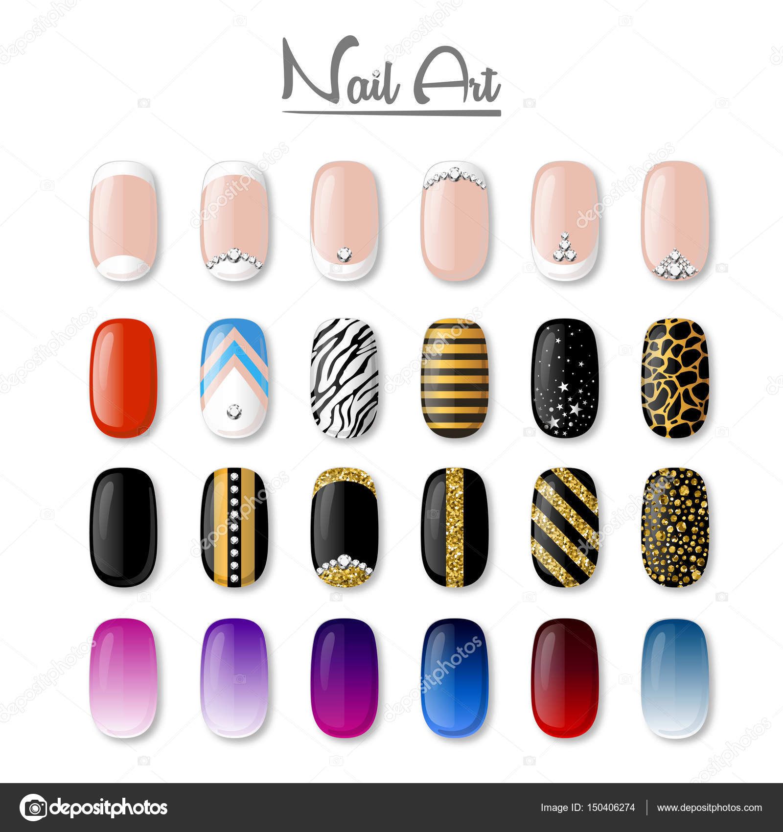 Set of colored painted nails. Manicure. Nail polish. Isolated on a ...