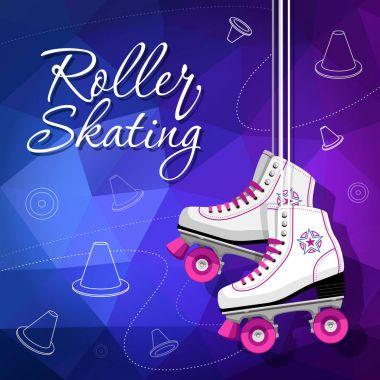 Quad skates classic. Roller skates hanging on the laces. Sport background. Vector illustration.