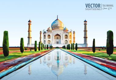 The Taj Mahal. White marble mausoleum on the south bank of the Yamuna river in the Indian city of Agra, Uttar Pradesh. Temple. Ancient Palace. Vector illustration.