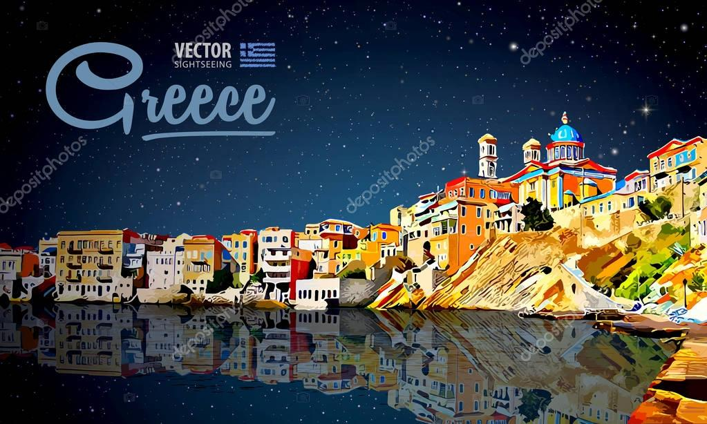 Greece holidays - clear sea and the reflection. Islands. Panorama city. Landscape. Starry sky. Night. Vector illustration.