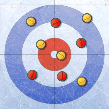 Sport. Curling stones on ice. Curling House. Playground for curling sport game. Red and yellow stones. Textures blue ice. Ice rink. Vector illustration background.
