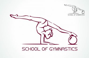Creative silhouette of gymnastic girl. Art gymnastics dancing woman. Vector Illustration. Logo.