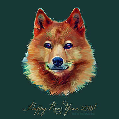 Dog, Chinese zodiac symbol of 2018 year, isolated on background. Asian Lunar Year. Year of the yellow earth dog, Happy New Year. Vector illustration.