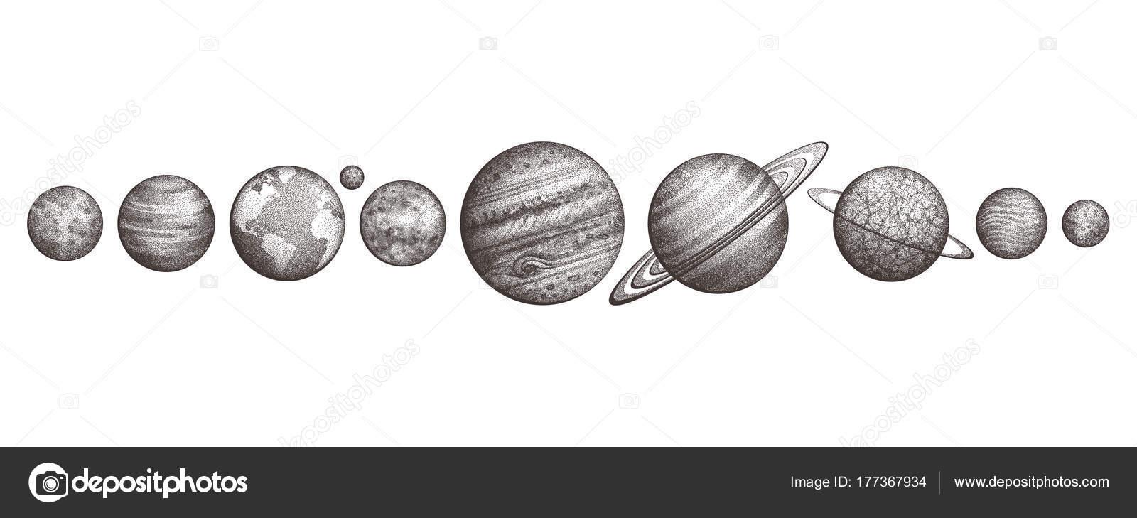 Collection des plan tes du syst me solaire style de gravure vintage science l gant ensemble - Tatouage systeme solaire ...