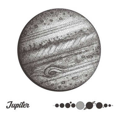 Jupiter. Collection of planets in solar system. Engraving style. Vintage elegant science set. Sacred geometry, magic, esoteric philosophies, tattoo, art. Isolated hand-drawn vector illustration.