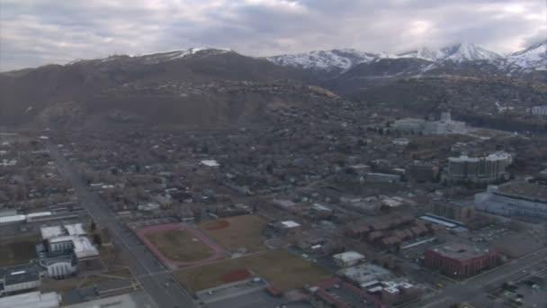 letecké záběry centra salt lake City v zimě