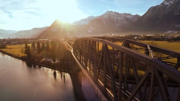 aerial view flying over bridge landscape panorama sunset