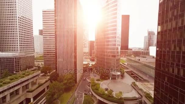 město panorama pohled na západ slunce světlo letecký pohled mrakodrapy