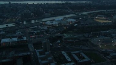 Gliding over new york toward yankee stadium