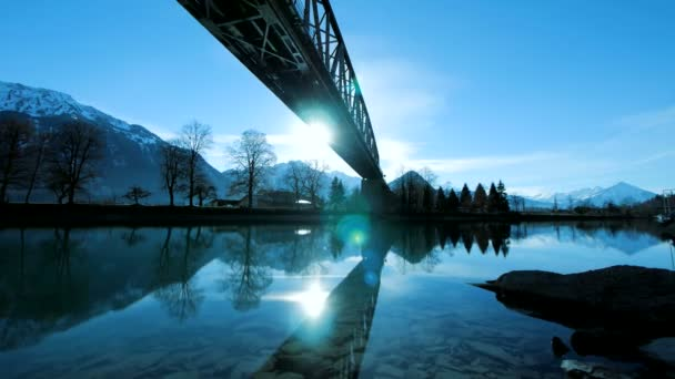lake sea river pond mirror water reflection silhouette of bridge