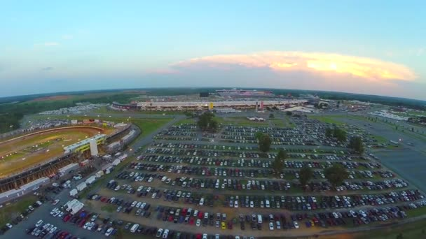 fly over packed stadium parking lot