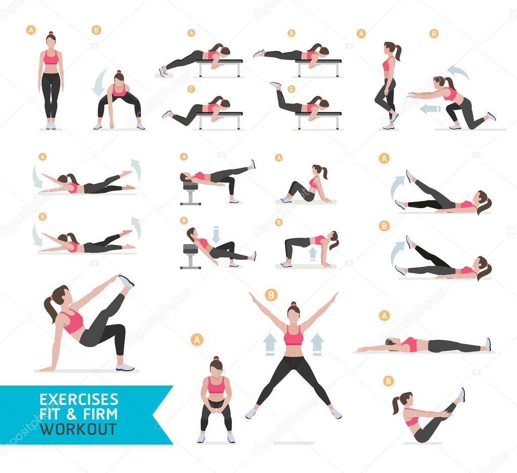Frau Workout Fitness, aerobic und Übungen. Vektor-Illustratio ...