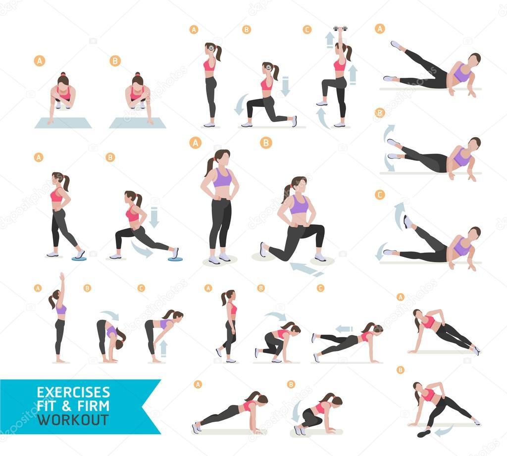 Frau Workout Fitness, aerobic und Übungen. Vektor-Illustration ...