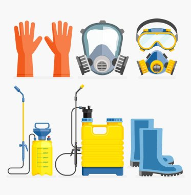 Set of pesticide tool. Gas mask and sprayer. Vector illustration