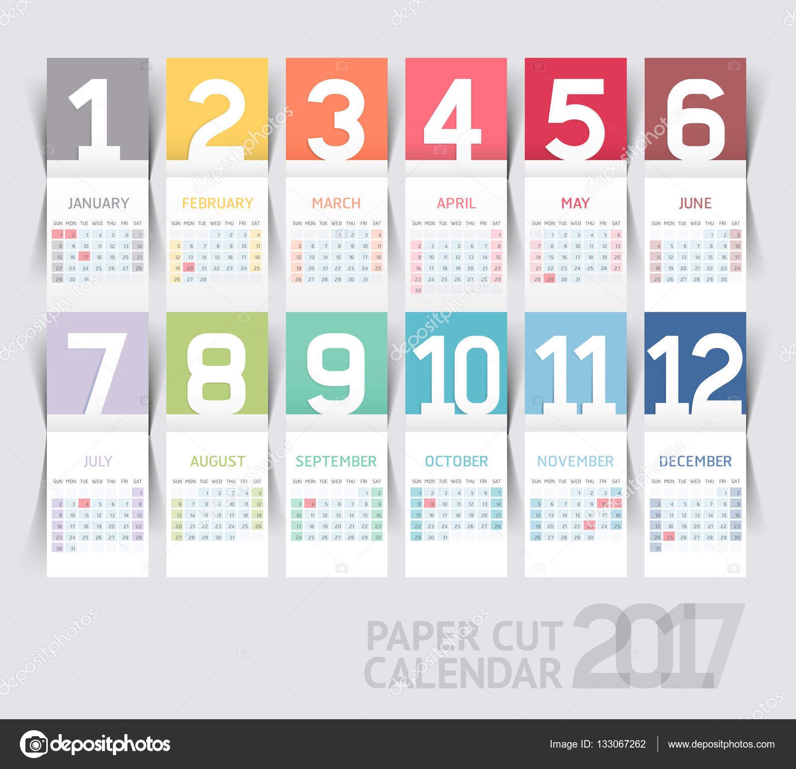 Calendario 2017 imprimir plantilla papel de diseño estilo plegable ...