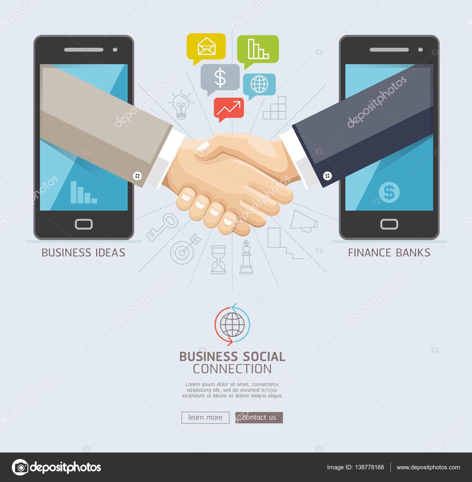 Unternehmen soziale Verbindung Technologie-Konzeption. Mobile und ...