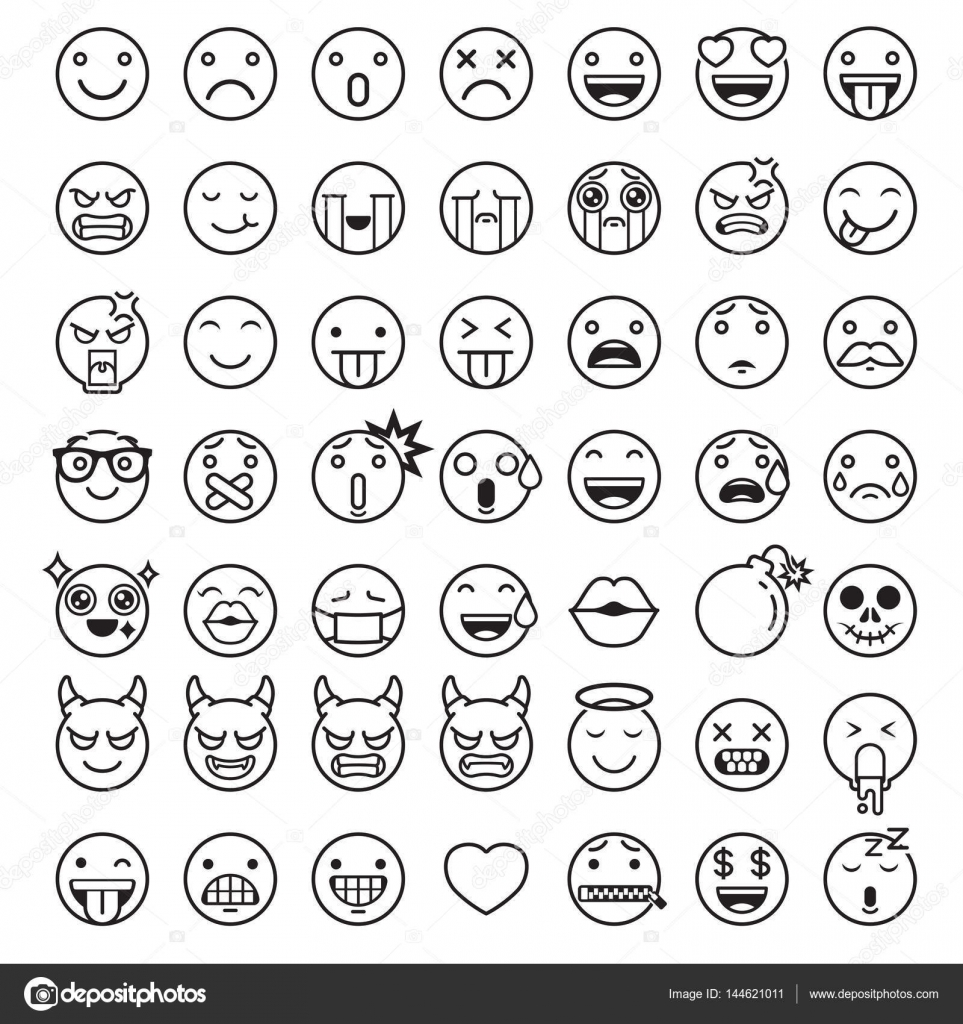 Emoji Emoticons Symbols Icons Set Vector Illustrations Stock