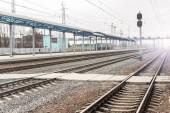 Fotografie Empty railway station. Railroad transportation desolation concept