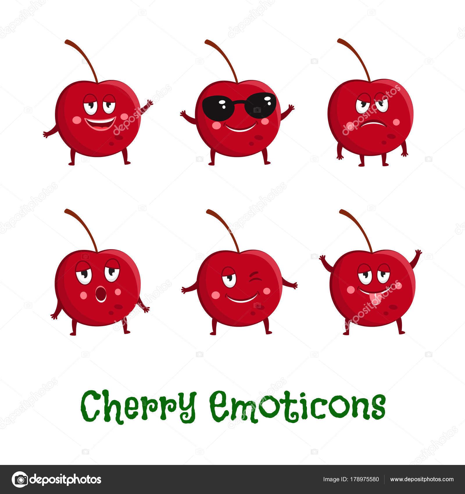 Ciliegi sorrisi faccine simpatico cartone animato icone