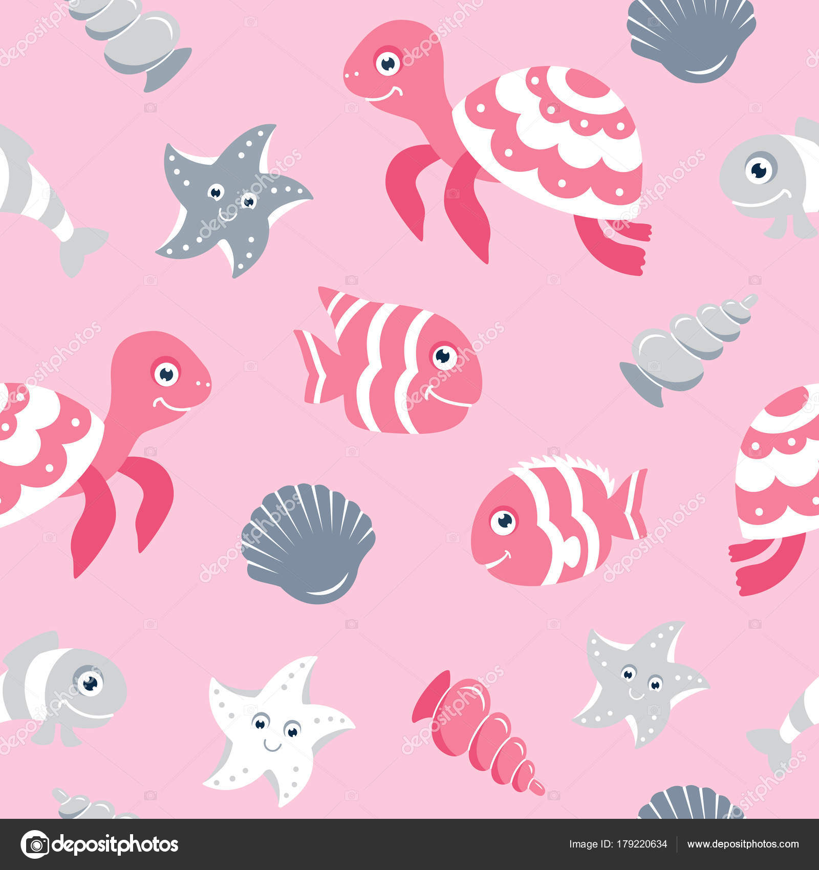 Cute Seamless Pattern Sea Animals Baby Shower Scrapbooking Designs