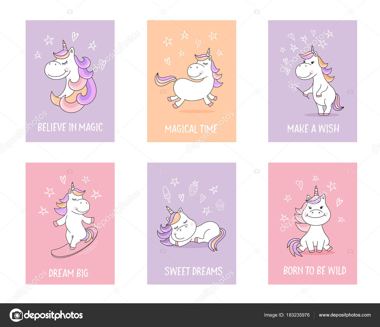 Cute unicorn greeting cards quotes magical symbols stock vector cute unicorn greeting cards quotes magical symbols stock vector m4hsunfo