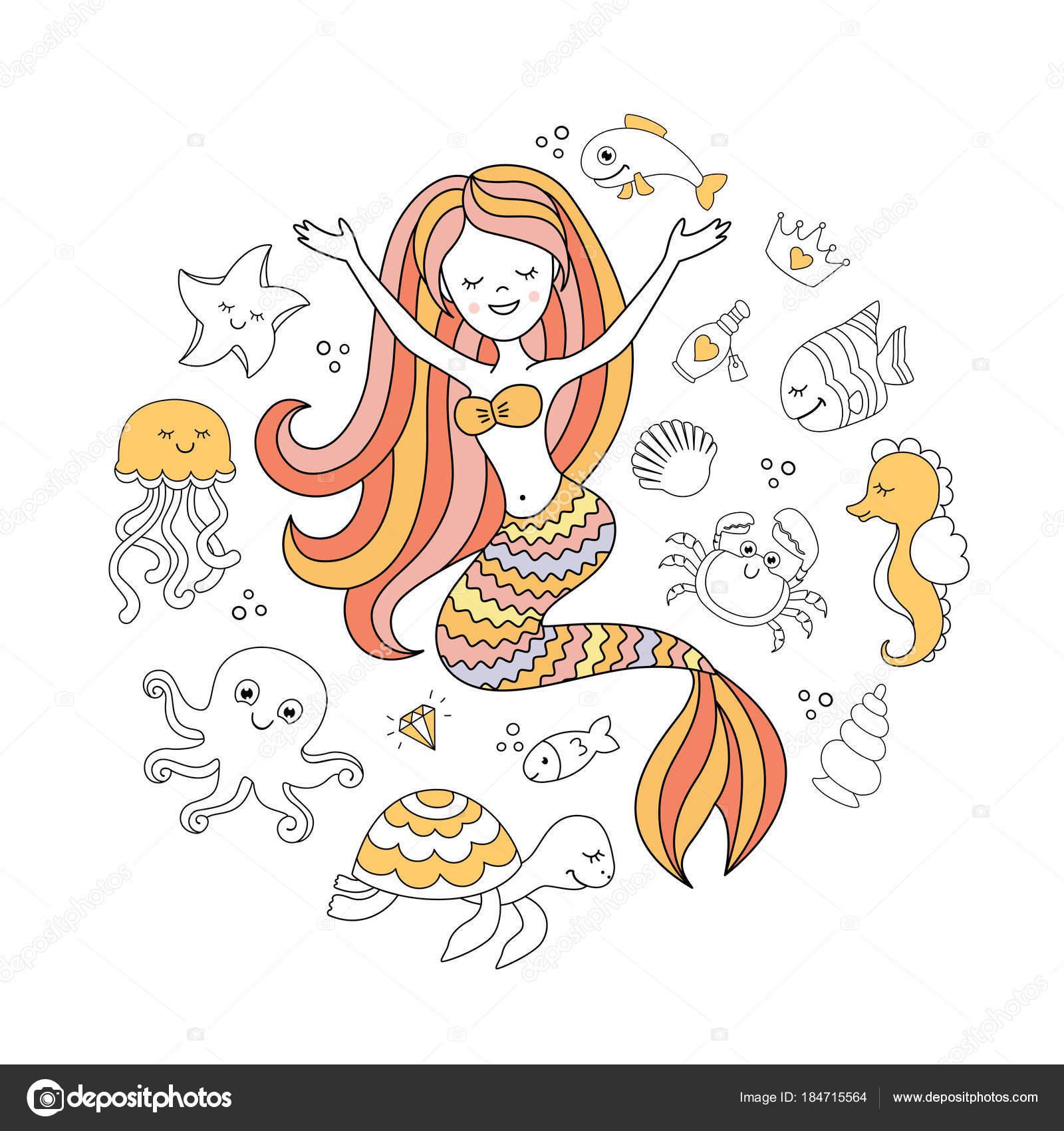 Sevimli Küçük Deniz Kızı Deniz Hayvanları Deniz Vektör çizim Altında
