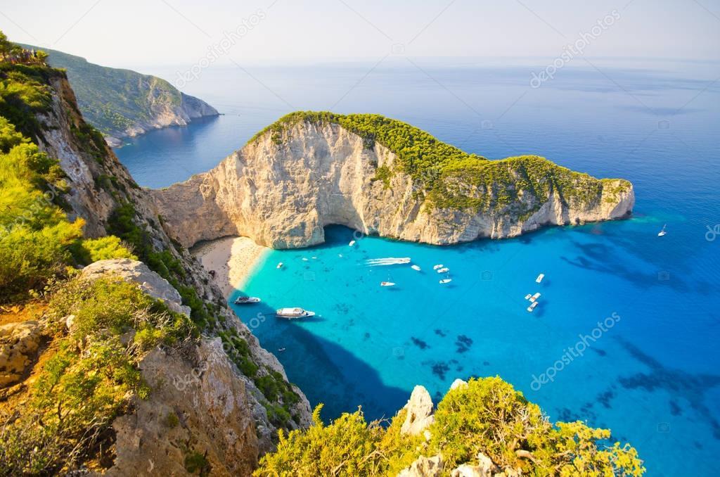 ザキントス島、ギリシャにナヴァイオ ・ ビーチ — ストック画像