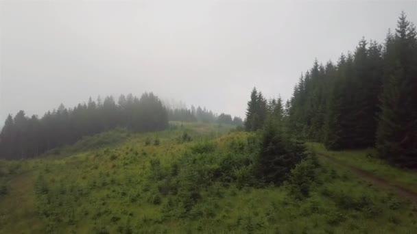 Letecký pohled na horskou cestu, která se zvedá během ranní mlhy