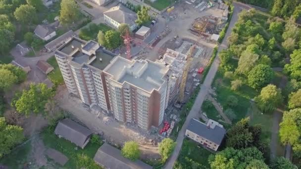Aerial view of construction of a multistorey building