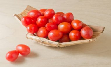 Ripe Red Grape Tomatoes on Small Boat