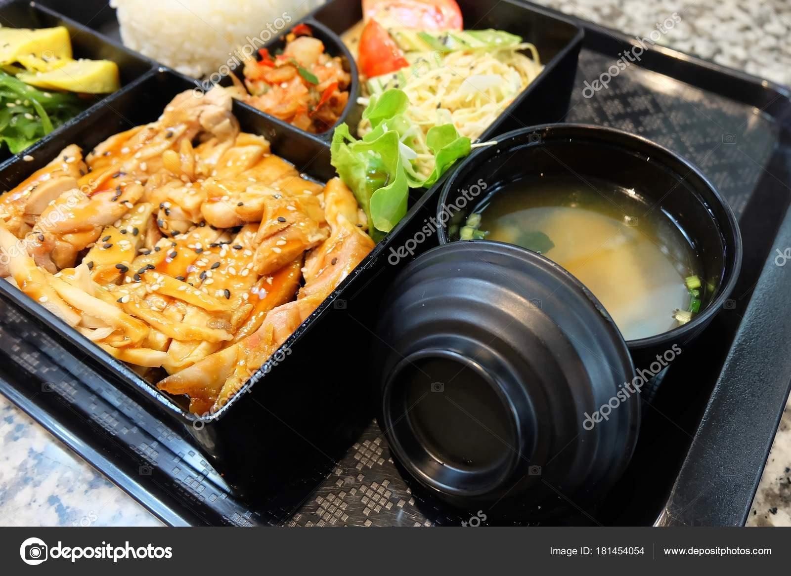 Traditional Japan Cuisine Bento Box Multi Layered Teriyaki Chicken Stock Photo