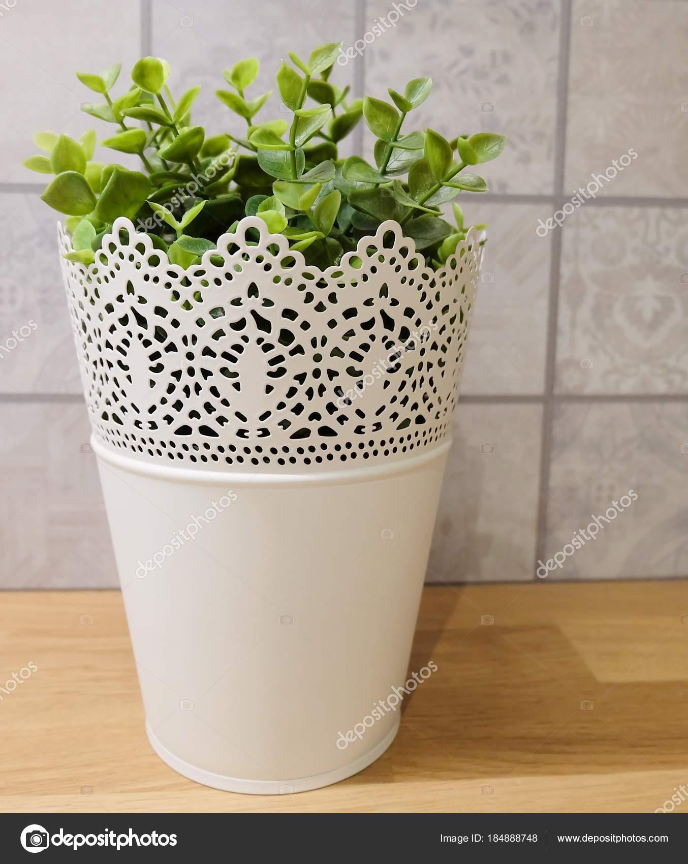green artificial plants in a metal pot — stock photo © arayabandit