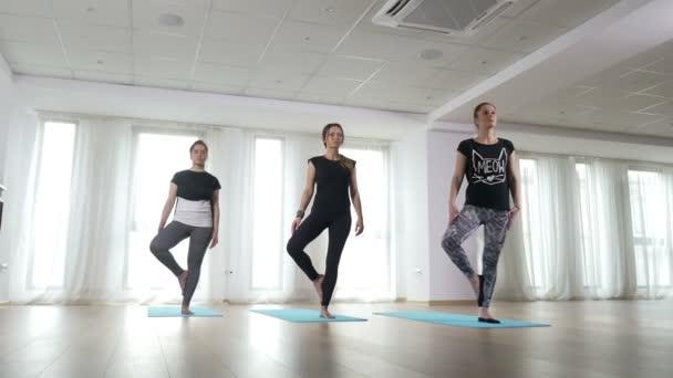 Lányok gyakorló egyensúly fa póz jóga órákon az edzőteremben