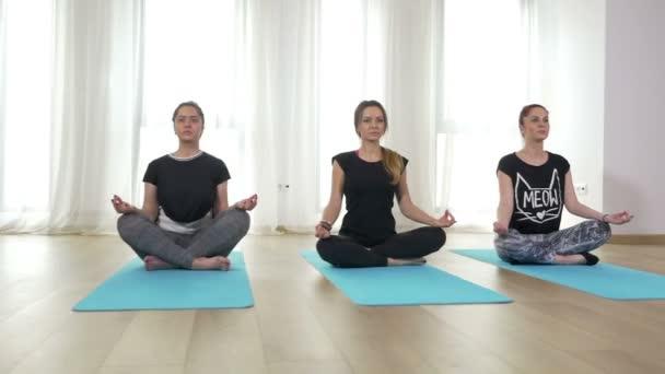 Ženy, meditace a stojící v lotosové pozici během krytý jógy
