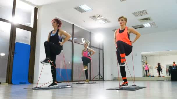Active women doing fitness session for legs