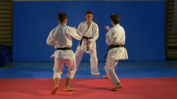 Két karate harcos, támadó egy másik és a gyakorló önvédelmi, ban lassú mozgás
