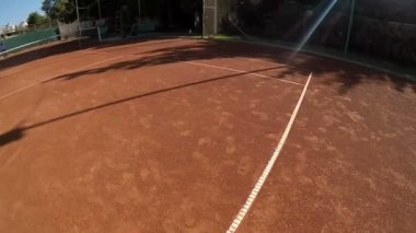 POV point of view of tennis player in slow motion