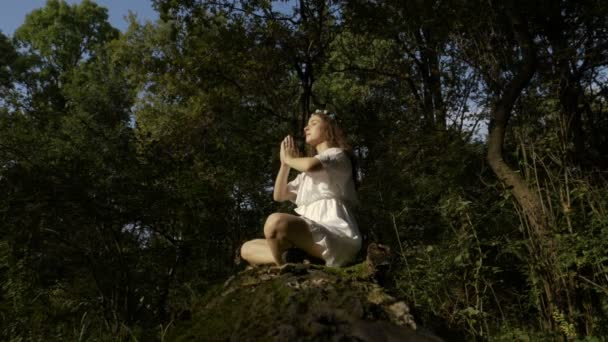 Yogi meditiert im Wald in Lotus-Pose in der Natur